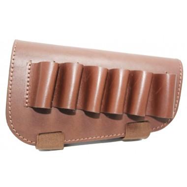Патронташ на приклад на 6 патронов кожаный коричневый