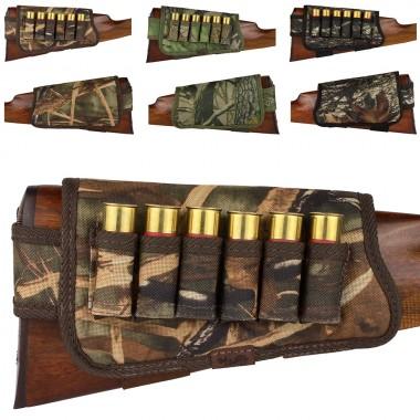 Патронташ на приклад 6 патронов на липучке камуфляж дуб