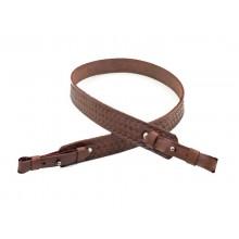 Ремень оружейный прямой, кожаный, тисненый №1 (коричневый)