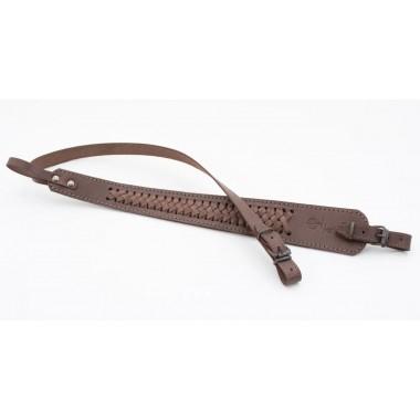 Ремень оружейный трапеция, кожаный, плетеный (коричневый)