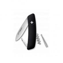 Нож складной Swiza D01, черный, 6 ф., штопор