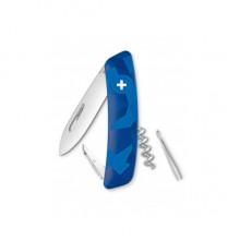 Нож Swiza C01, голубой livor, 6 ф., Штопор