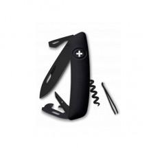 Нож Swiza D03, all black, 11 ф., Штопор