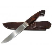 Нож коричневый дерево М390 в кожаном чехле коричневый