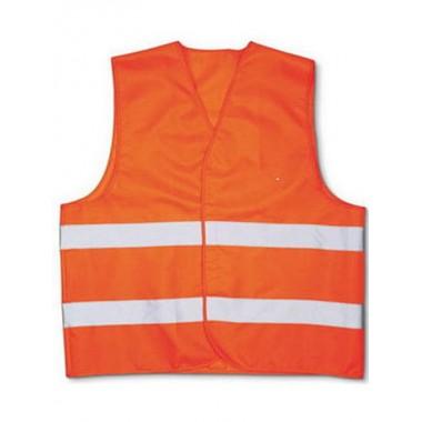 Жилет оранжевый с двумя светоотражающими полосами